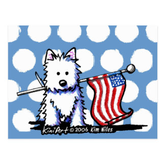 USA Flag Westie Postcard