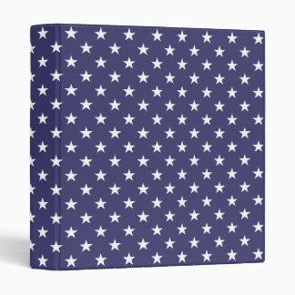 USA Flag White Stars on Flag Blue Binder