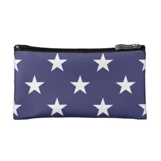USA Flag White Stars on Flag Blue Makeup Bags