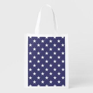 USA Flag White Stars on Flag Blue Reusable Grocery Bag