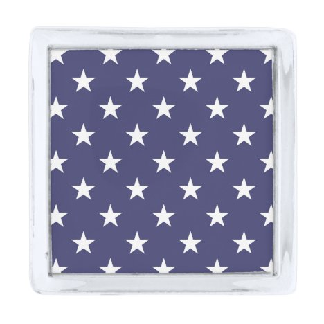 USA Flag White Stars on Flag Blue Silver Finish Lapel Pin