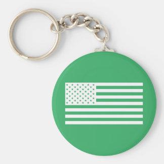 USA Flag - White Stencil Keychain