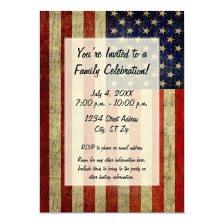 USA Flag with a vintage look Party 5x7 Paper Invitation Card