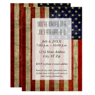 Usa Flag With A Vintage Look Party Card at Zazzle