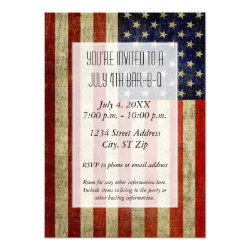 USA Flag with a vintage look Party Invitation