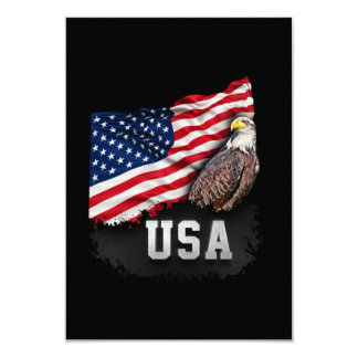 USA Flag with Bald Eagle 4th of July Card