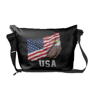USA Flag with Bald Eagle 4th of July Courier Bag