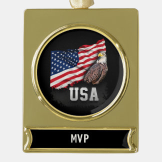 USA Flag with Bald Eagle 4th of July Gold Plated Banner Ornament