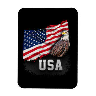 USA Flag with Bald Eagle 4th of July Magnet