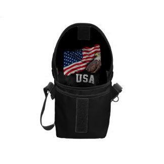 USA Flag with Bald Eagle 4th of July Messenger Bag