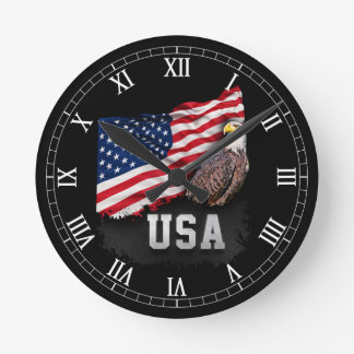 USA Flag with Bald Eagle 4th of July Round Clock