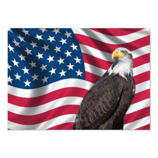 """USA Flag with Bald Eagle 5"""" X 7"""" Invitation Card"""