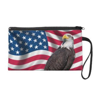 USA Flag with Bald Eagle Wristlet Clutch