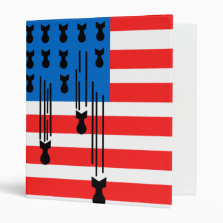 USA Flag with Falling Bombs 3 Ring Binder