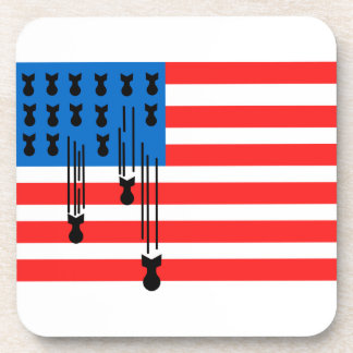 USA Flag with Falling Bombs Beverage Coaster