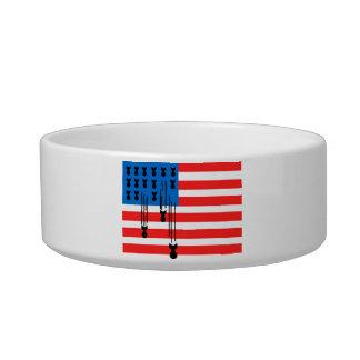 USA Flag with Falling Bombs Bowl