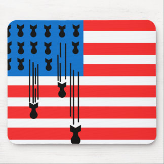 USA Flag with Falling Bombs Mouse Pad
