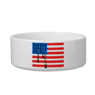 USA Flag with Falling Bombs Cat Water Bowl