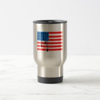 USA Flag with Falling Bombs Travel Mug