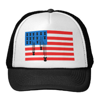 USA Flag with Falling Bombs Trucker Hat