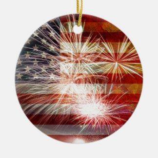 USA Flag with Fireworks Grunge Texture Ceramic Ornament