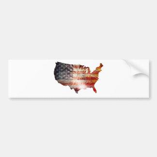 USA Flag with Fireworks Map Grunge Background Bumper Sticker