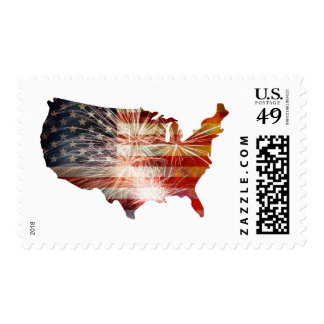 USA Flag with Fireworks Map Grunge Postage