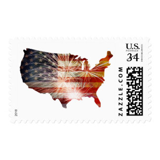 USA Flag with Fireworks Map Grunge Stamps
