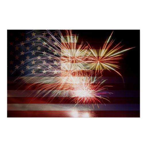 USA Flag with Fireworks Poster