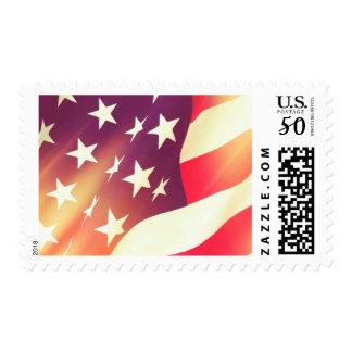 USA flag with glow Postage