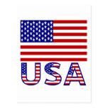 USA Flag with Name Postcard