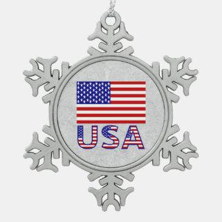 USA Flag with Name Snowflake Pewter Christmas Ornament