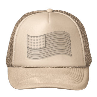 USA flag with Silver metal effect Trucker Hat