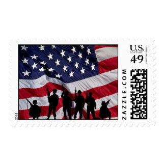 USA Flag with Soldier Silhouette. Stamp