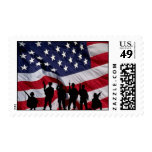 USA Flag with Soldier Silhouette. Stamps
