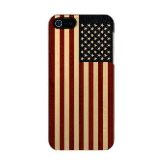 USA FLAG WOOD METALLIC iPhone SE/5/5s CASE