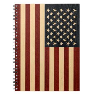 USA FLAG WOOD SPIRAL NOTEBOOK