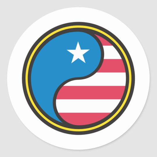 USA Flag Yin Yang Classic Round Sticker
