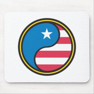 USA Flag Yin Yang Mouse Mat