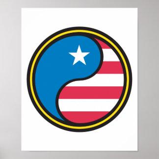 USA Flag Yin Yang Posters