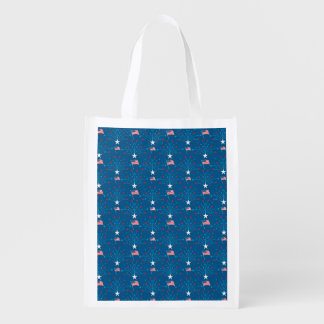 USA Flags and Fireworks Grocery Bag