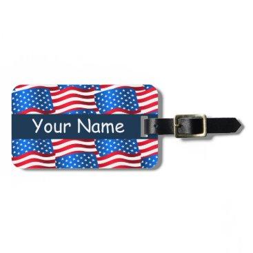 USA Themed USA flags Luggage Tag