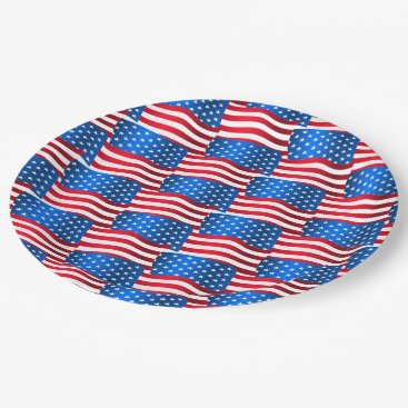 USA Themed USA flags Paper Plate