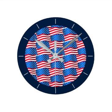 USA Themed USA flags Round Clock