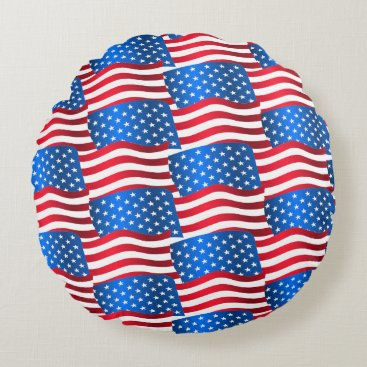 USA Themed USA flags Round Pillow