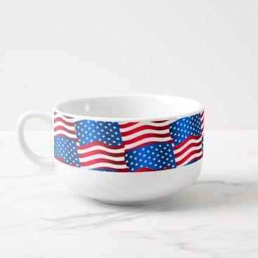 USA Themed USA flags Soup Mug