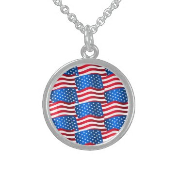 USA Themed USA flags Sterling Silver Necklace