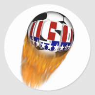 USA Flaming Soccer Ball Classic Round Sticker