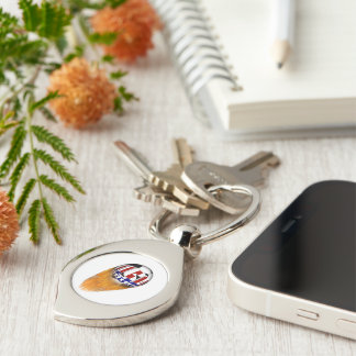 USA Flaming Soccer Ball Keychains