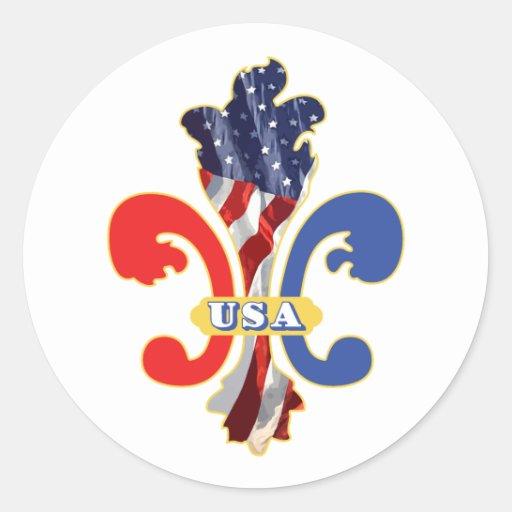 Usa Fleur De Lis Classic Round Sticker Zazzle